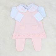 Vestido Regata Rosa Blush + Body Laço Crochê
