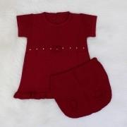 Vestido Tricô Laço + Tapa Fralda Bordô