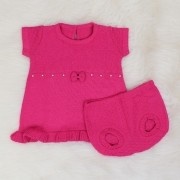 Vestido Tricô Laço + Tapa Fralda Pink