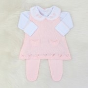 Vestido Tricô Regata Rosa Blush + Body Laço Crochê