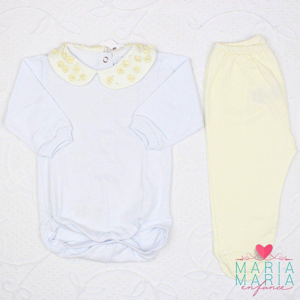 Body Gola Flor Aplique Amarelo