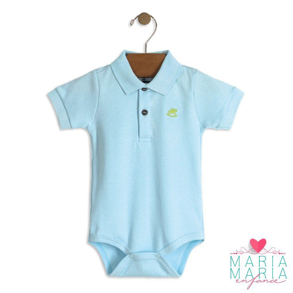 Body Suedine Gola Polo Azul