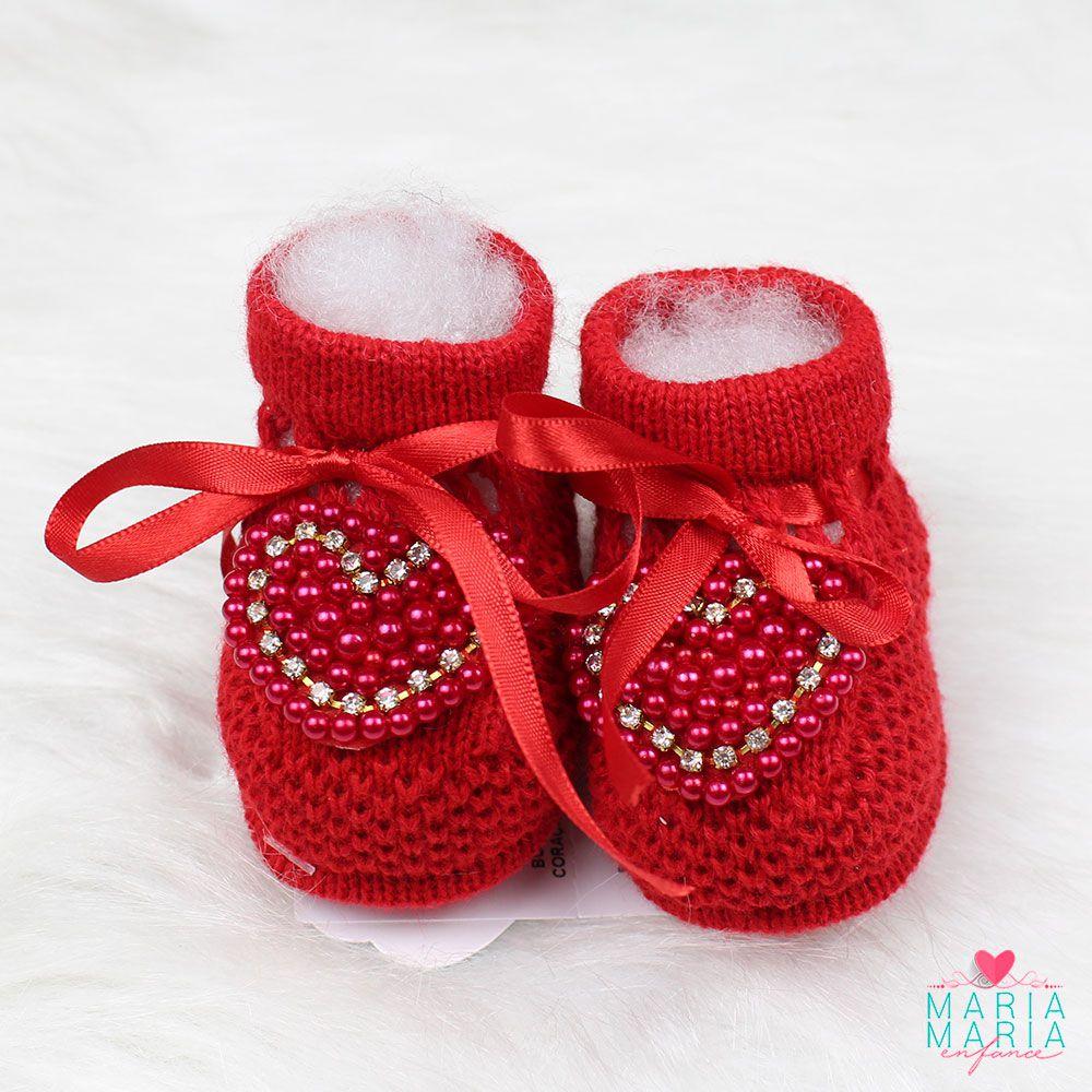 Botinha de Tricô Coração Vermelho