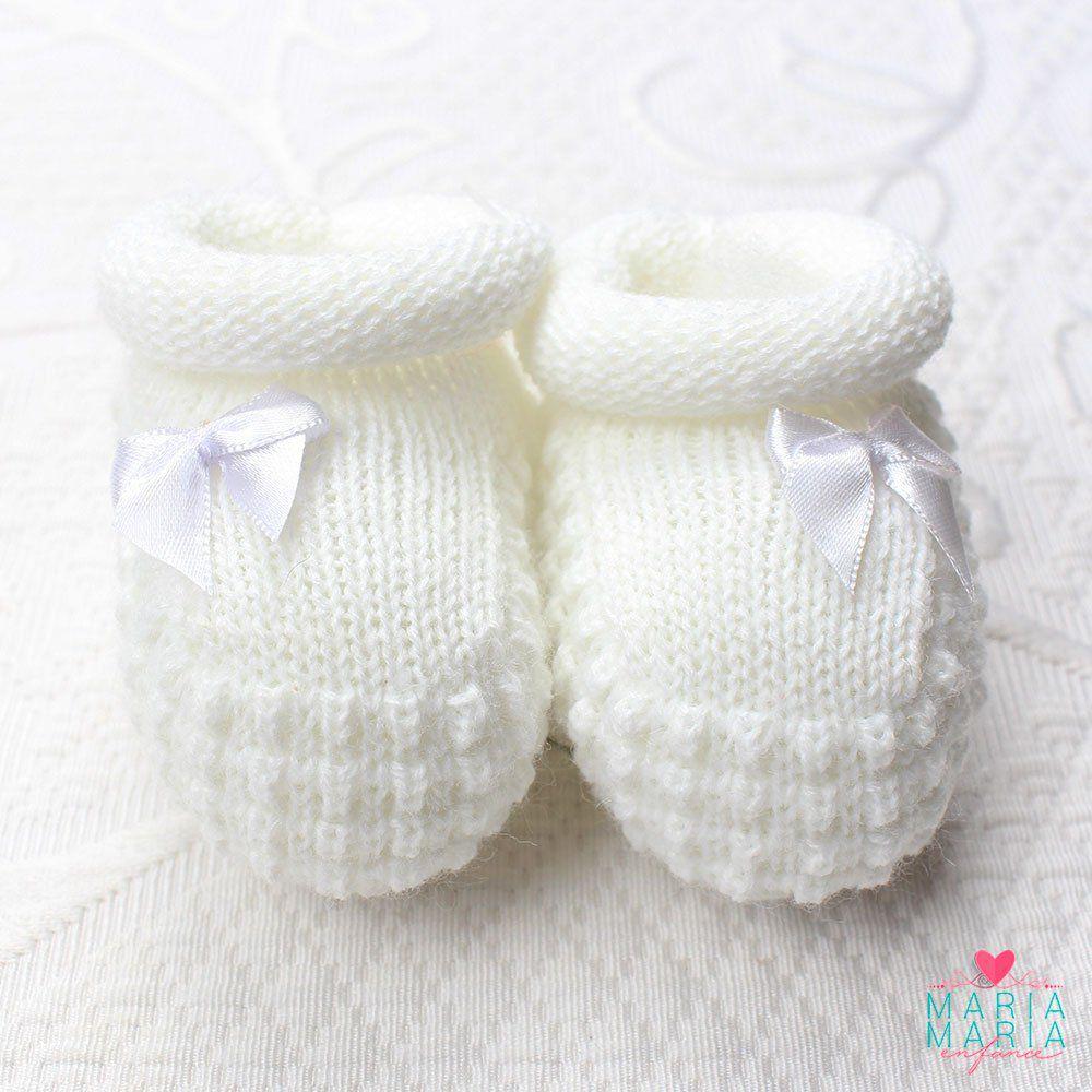 Botinha de Tricô Lacinho Liso Branco
