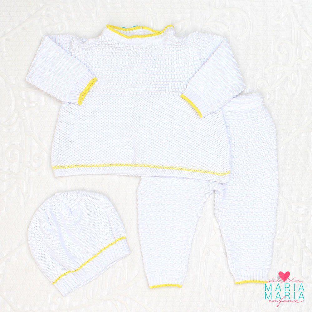 Conjunto Casaco, Calça e Touca Branco e Amarelo