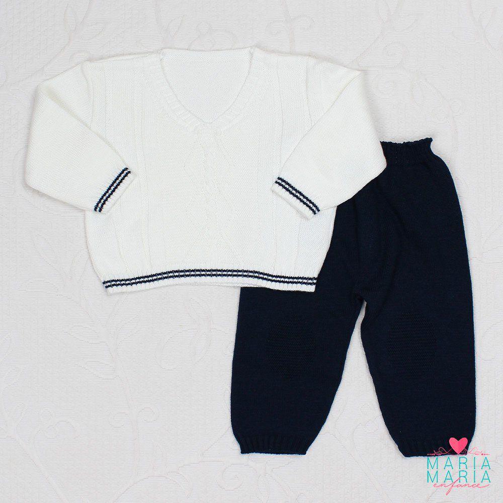 Conjunto Baby Casaco Branco + Calça Marinho