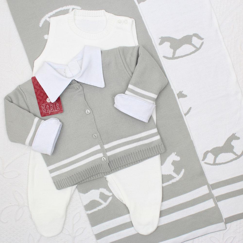 Saída de Maternidade Cavalinho Cinza P