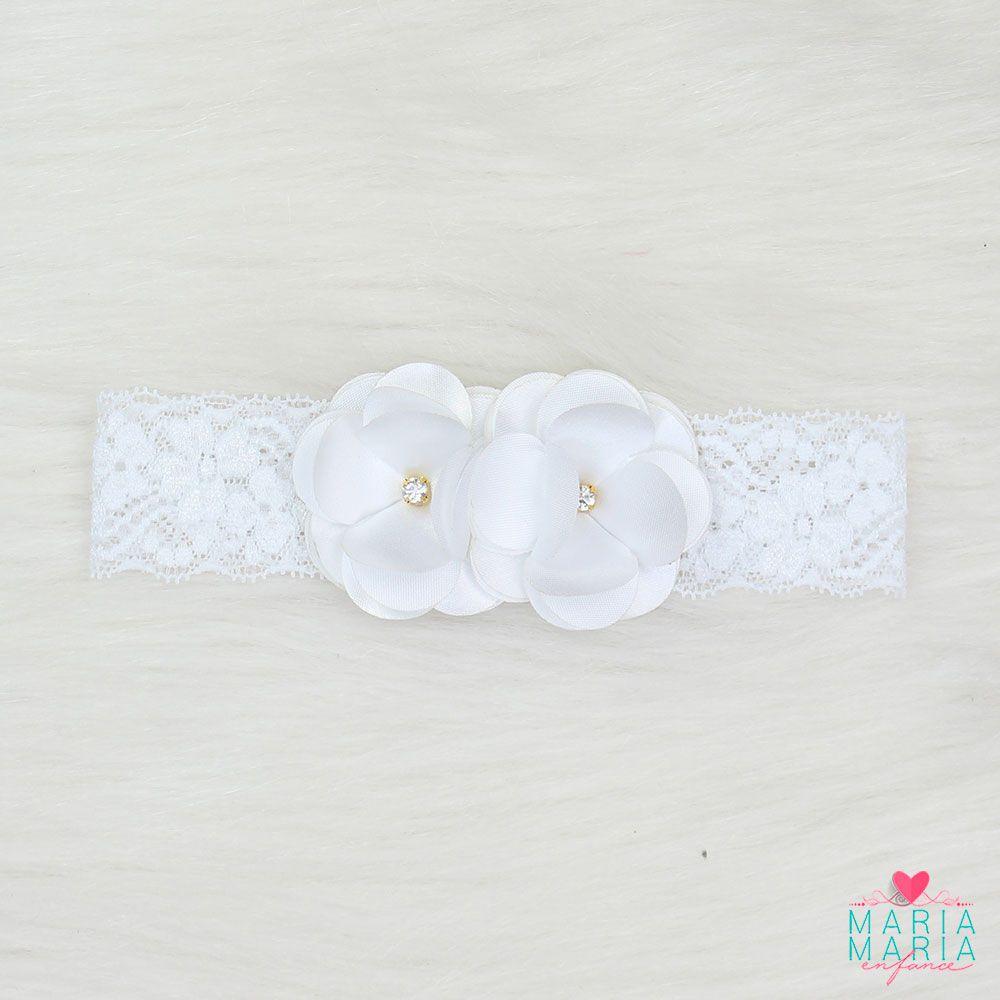 Faixa Renda 2 Flores Strass Branco