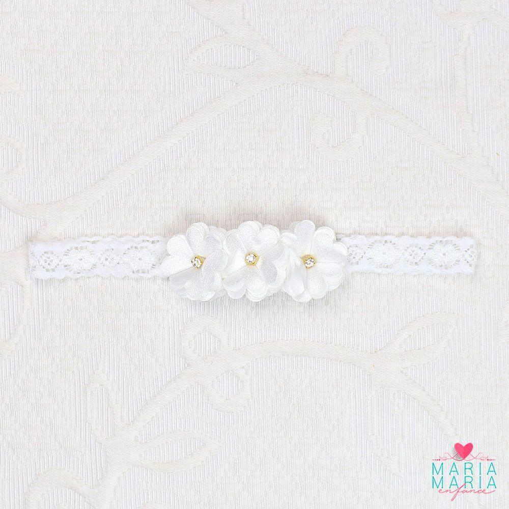 Faixa Renda Fina 3 Flores Strass Branco