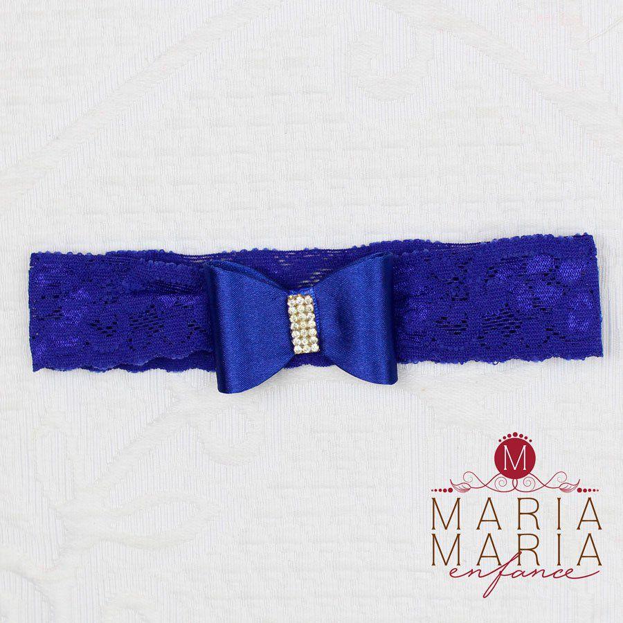 Faixa Renda Laço Azul Royal