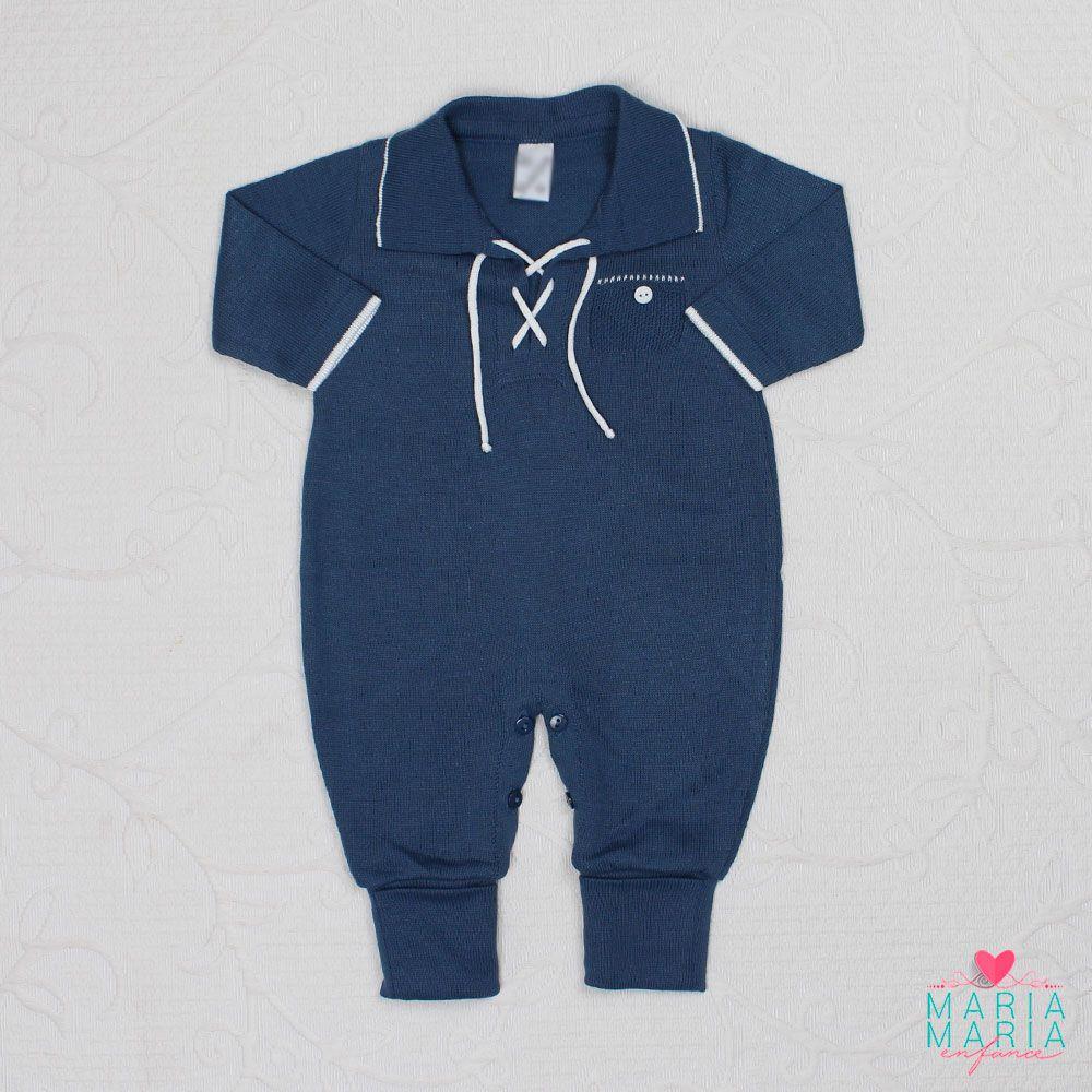 Macacão João Azul Jeans e Branco
