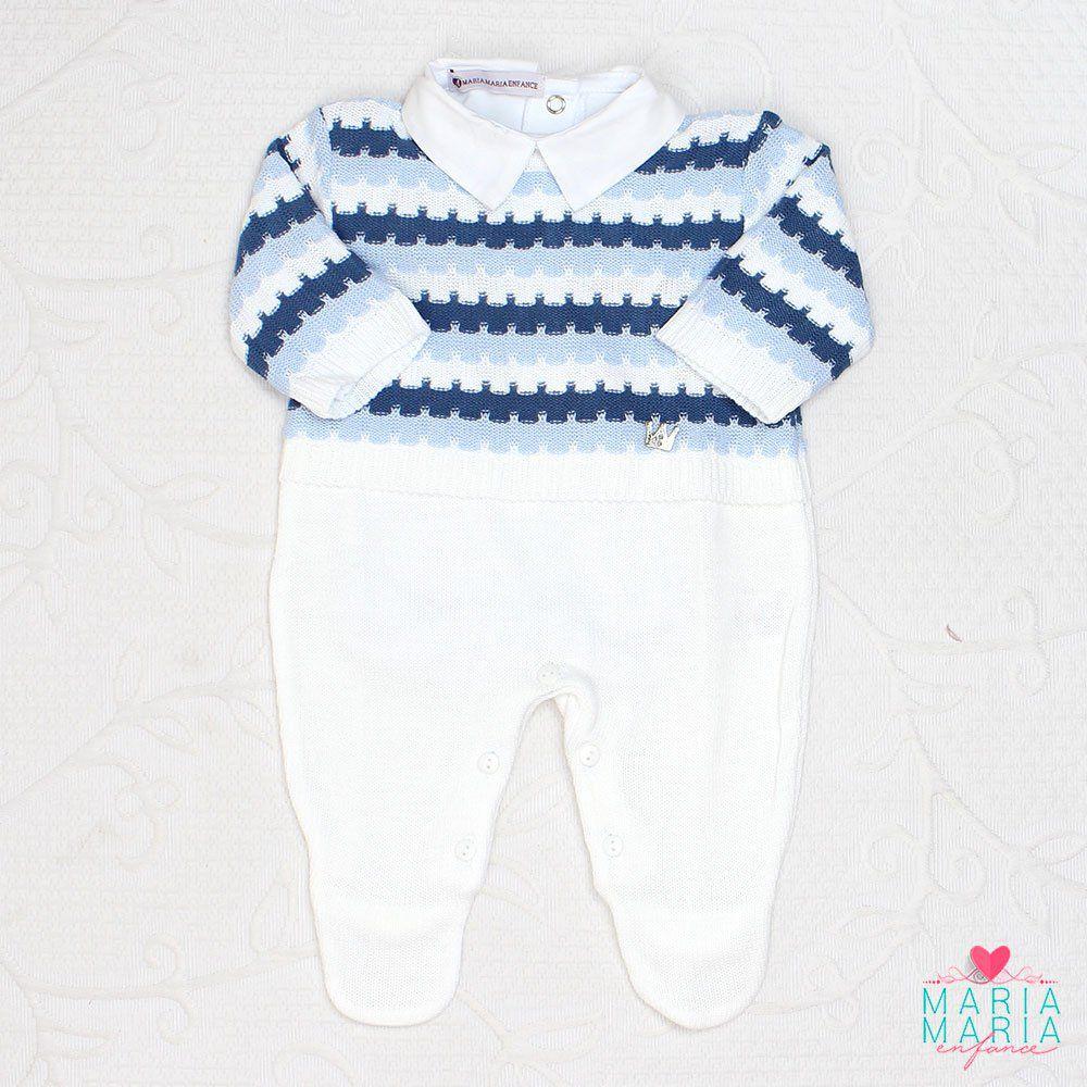 Macacão Listrado Azul, Azul Jeans e Branco