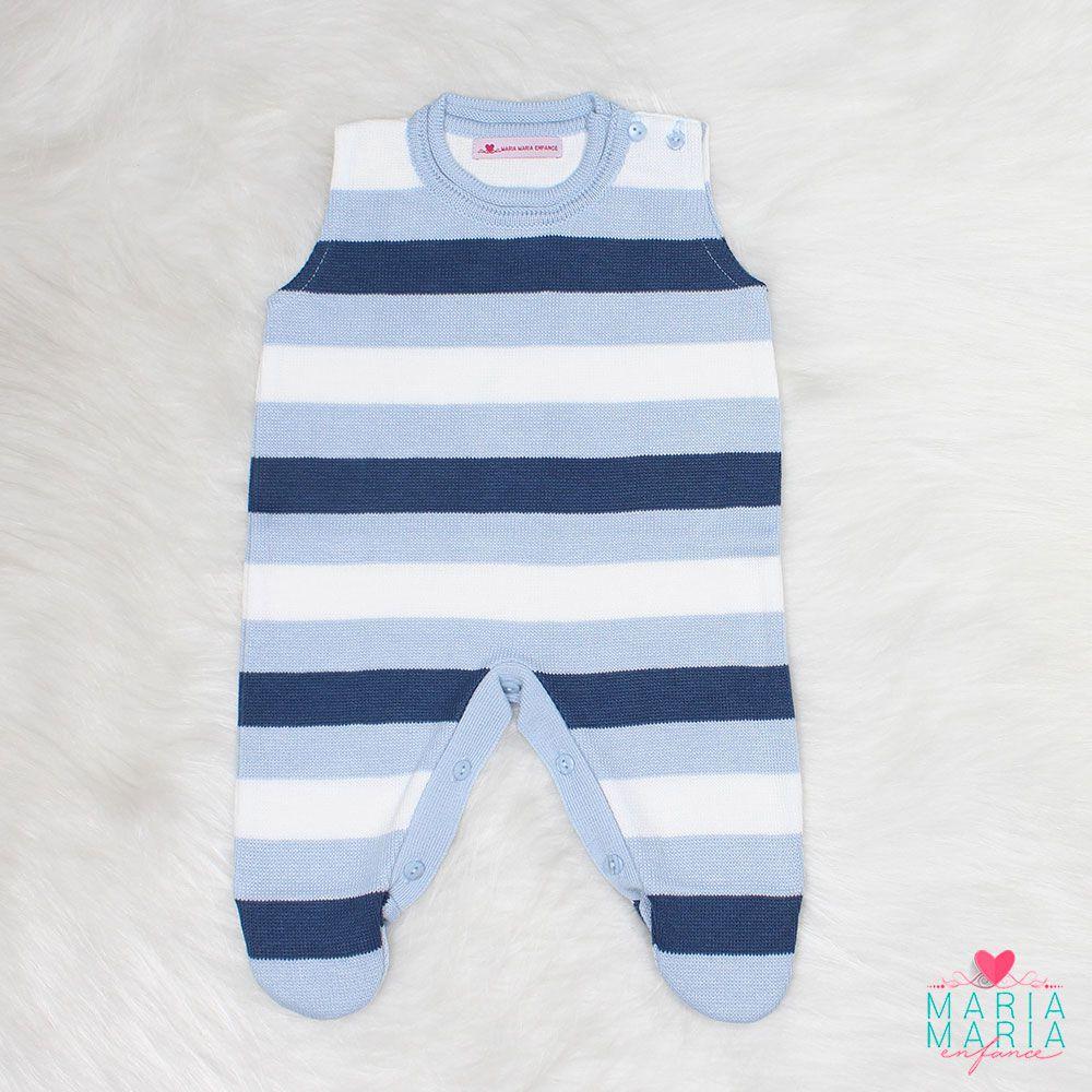 Macacão Listrado Azul Jeans e Azul + Body Lucas Branco