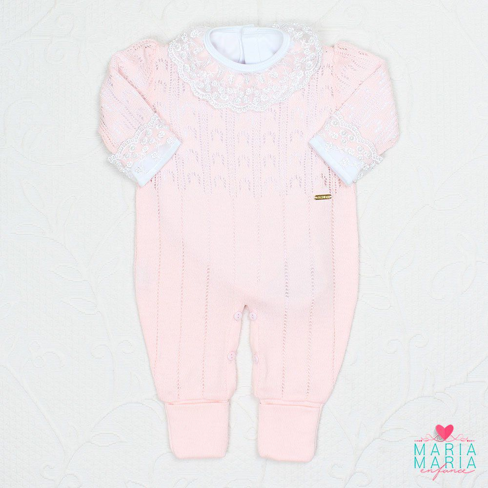 Macacão Renda Fashion Rosa Blush