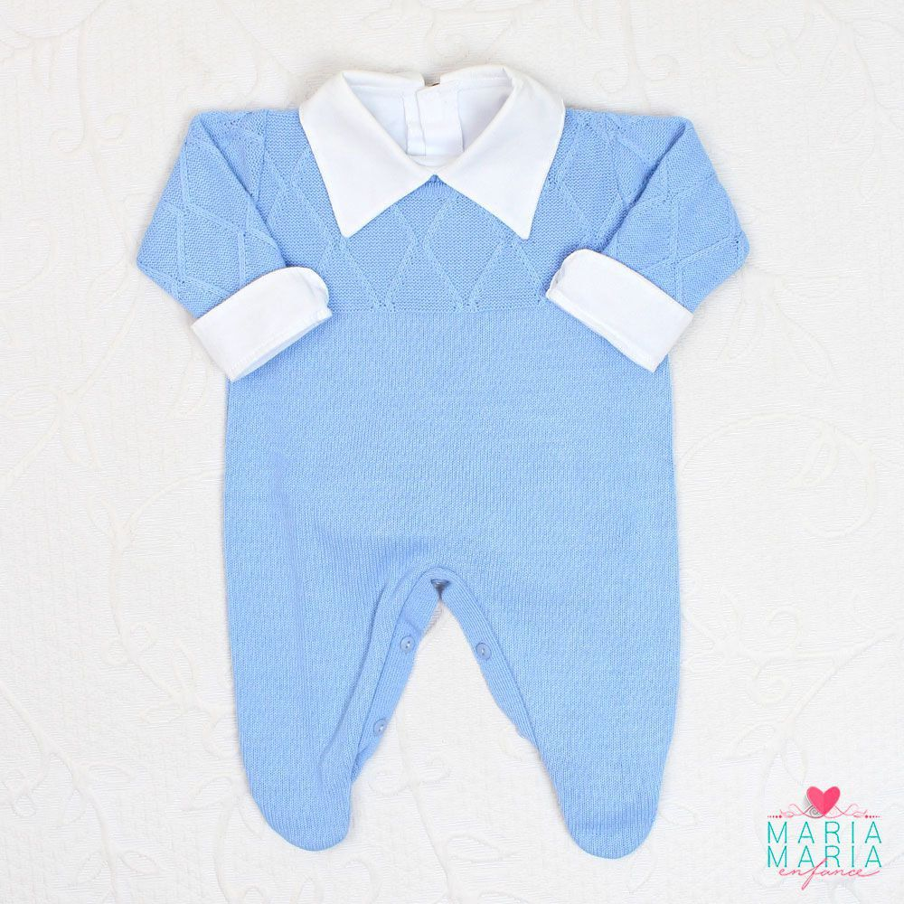 Macacão Viena Azul - Maria Maria Enfance - Saídas de Maternidade ... c5f24736f1f