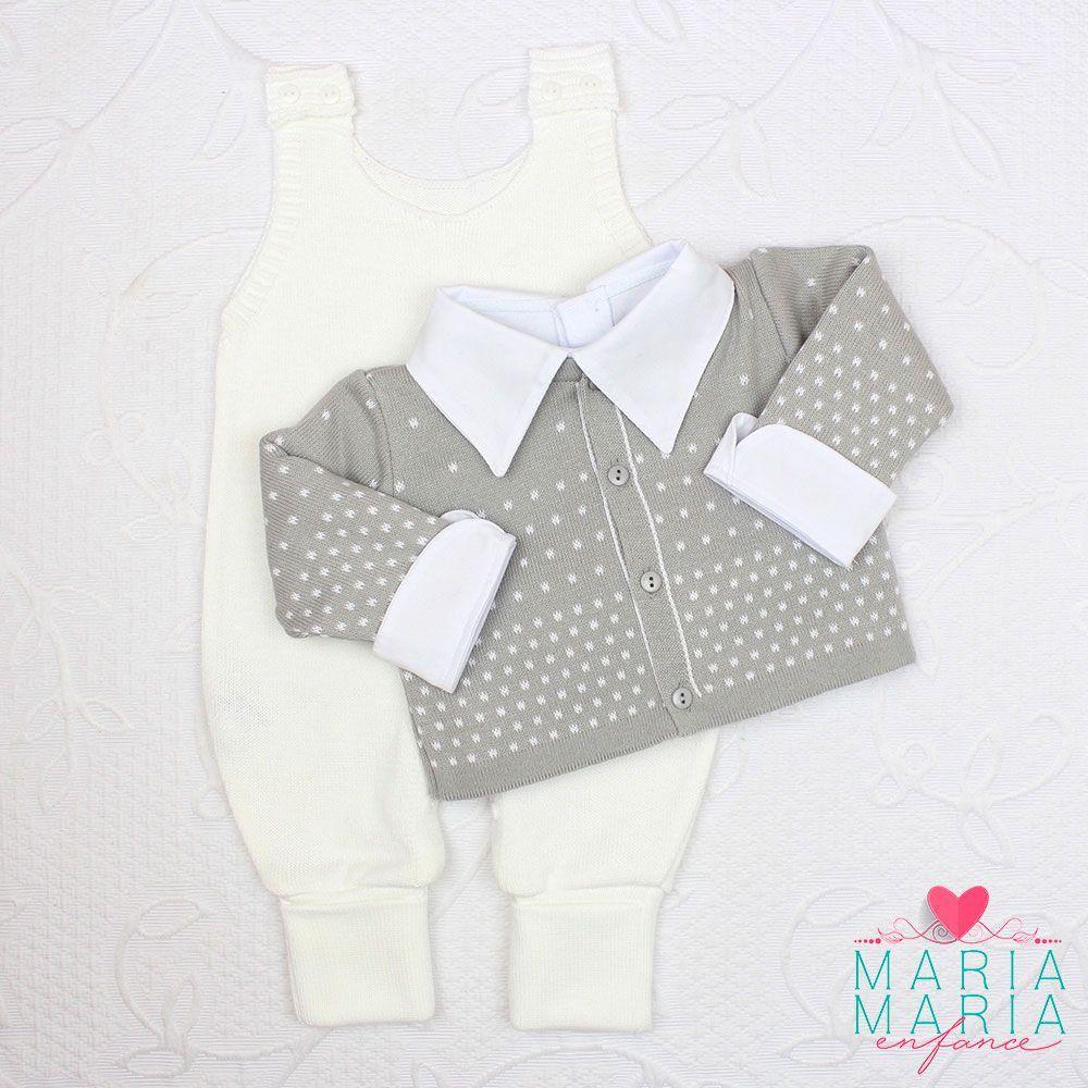 Saída de Maternidade Bolinhas Cinza e Branco