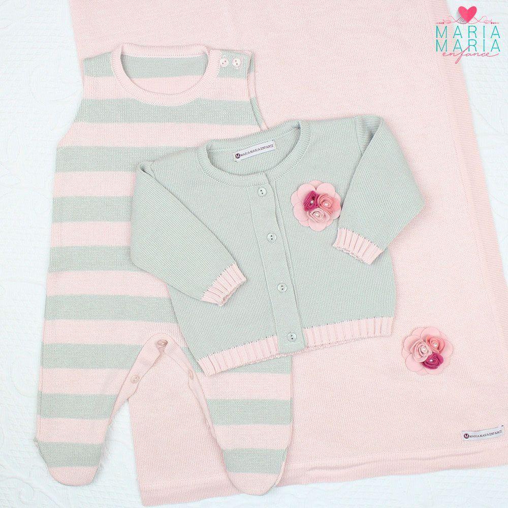 Saída de Maternidade Broche Cinza e Rosa