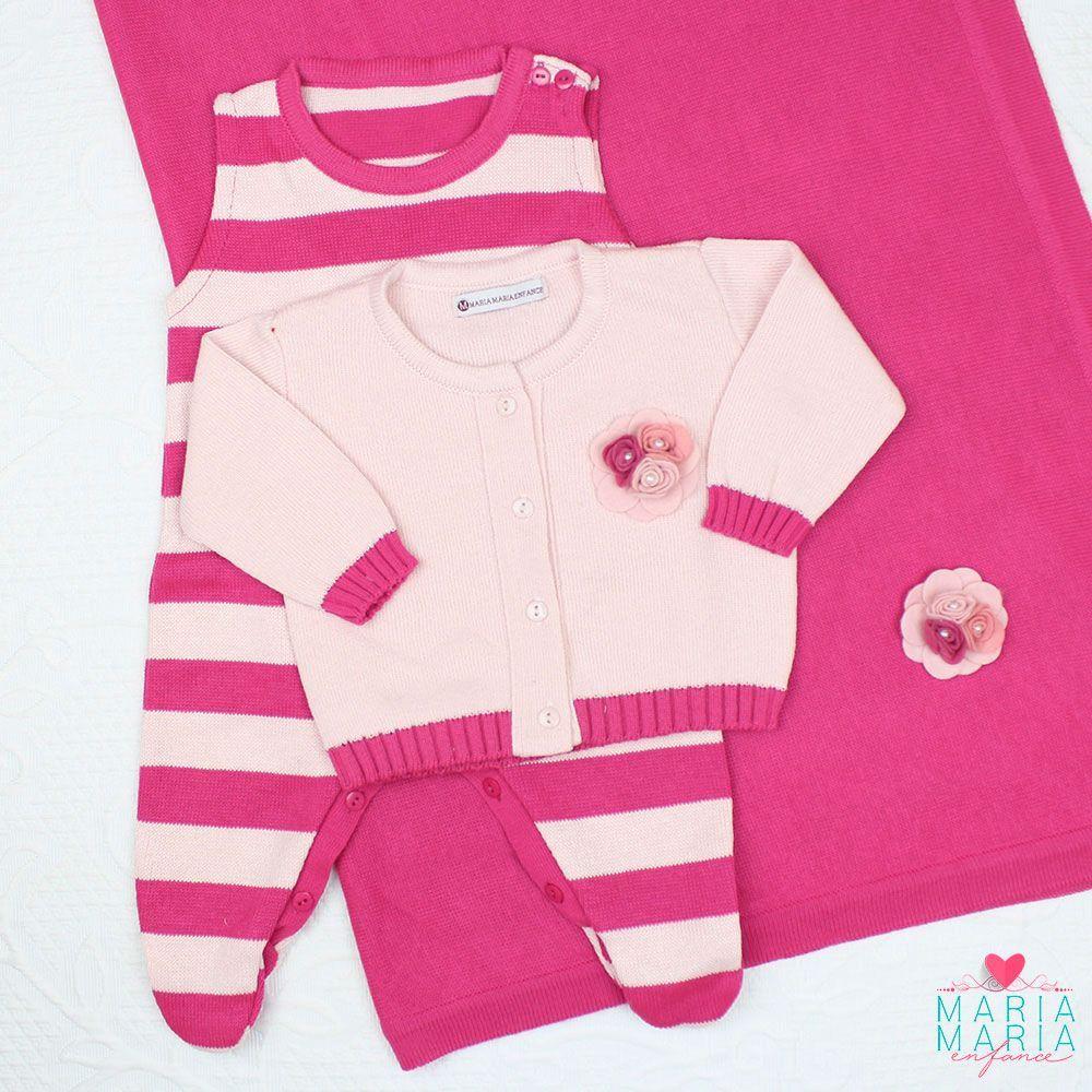 Saída de Maternidade Broche Rosa e Pink