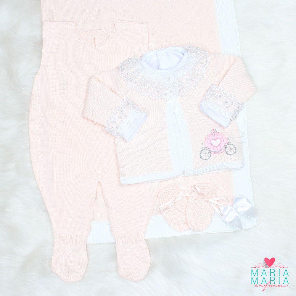 Saída de Maternidade Carruagem Rosa Blush