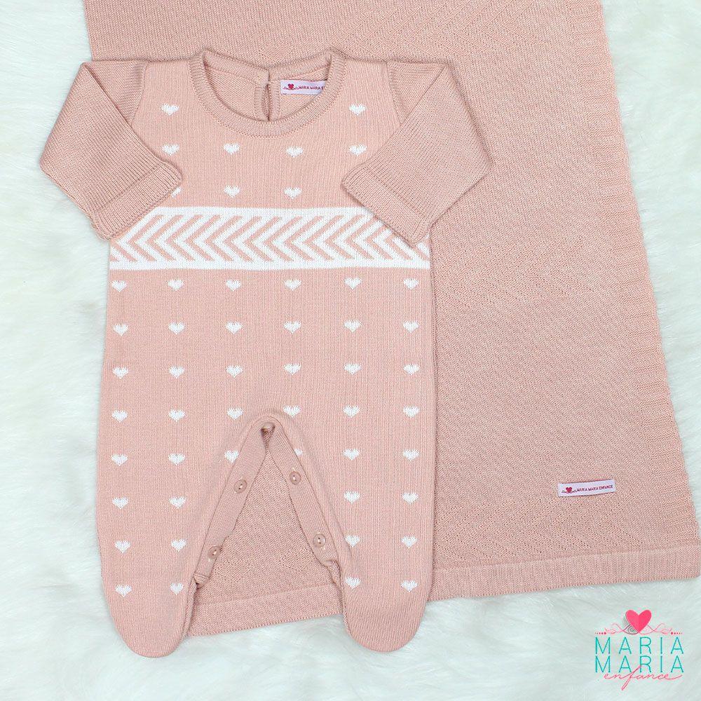 Saída de Maternidade Faixa Love Rosê e Branco