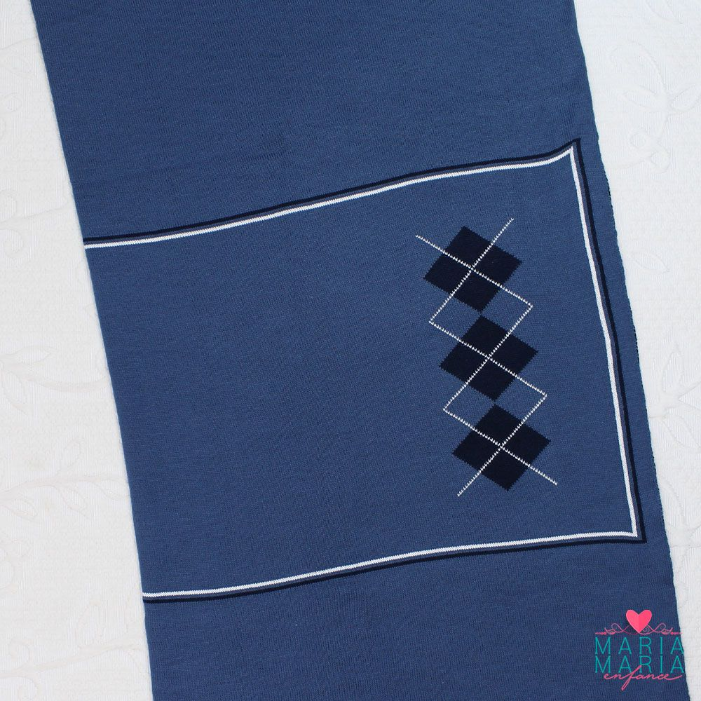 Saída de Maternidade Jacar Escocês Azul Jeans e Marinho