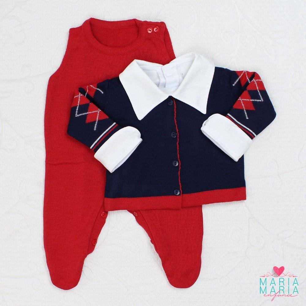 Saída de Maternidade Jacar Escocês Marinho e Vermelho