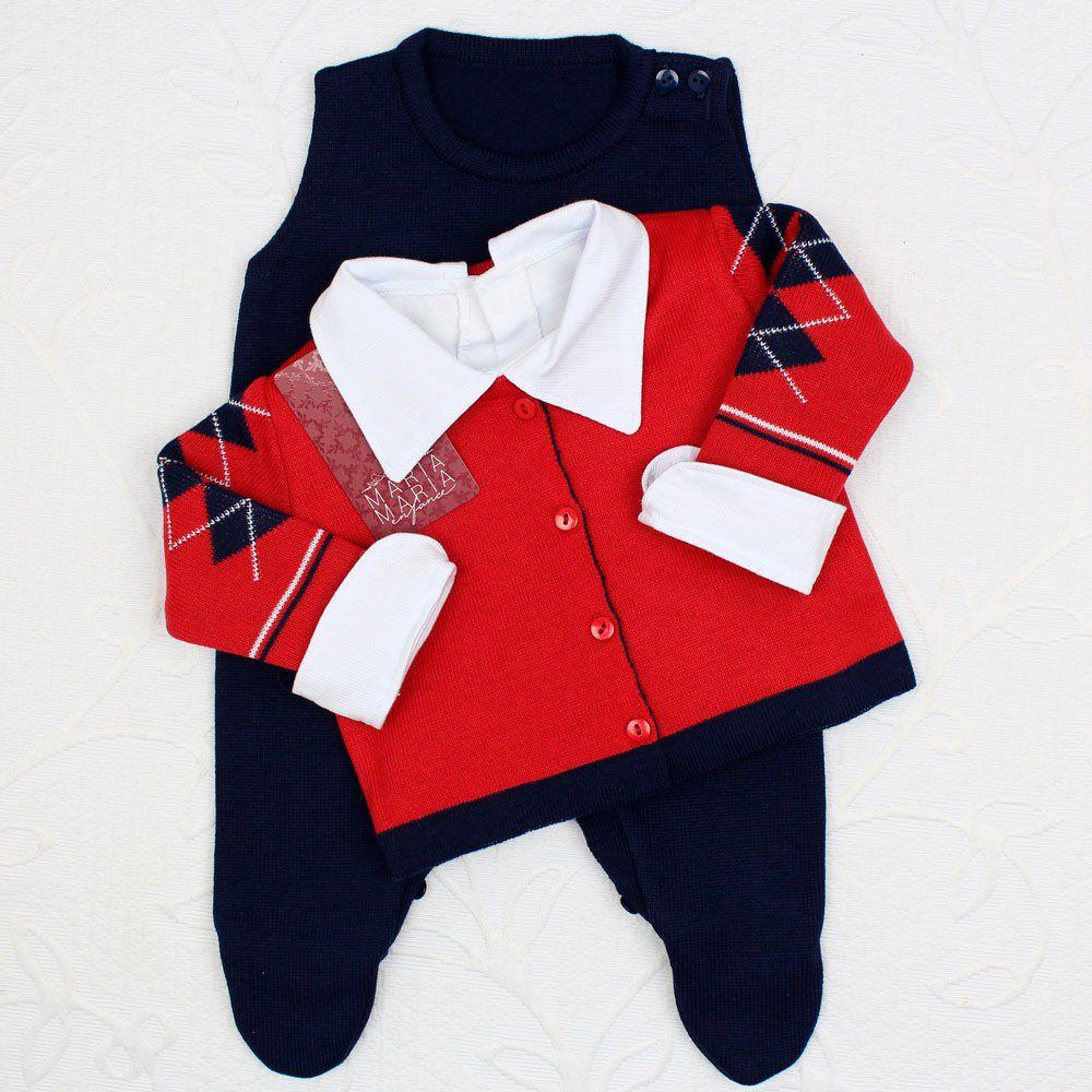 Saída de Maternidade Jacar Escocês Vermelho e Marinho