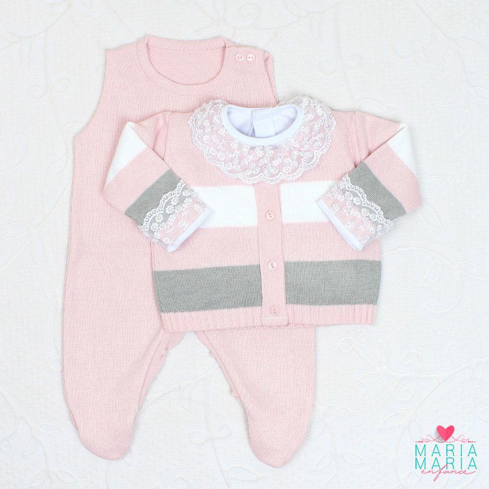 Saída de Maternidade Listrada Rosa e Cinza