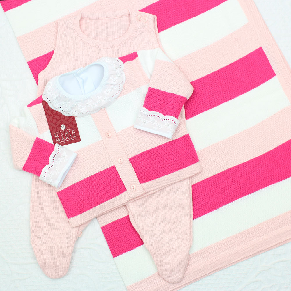 Saída de Maternidade Listrada Rosa e Pink P