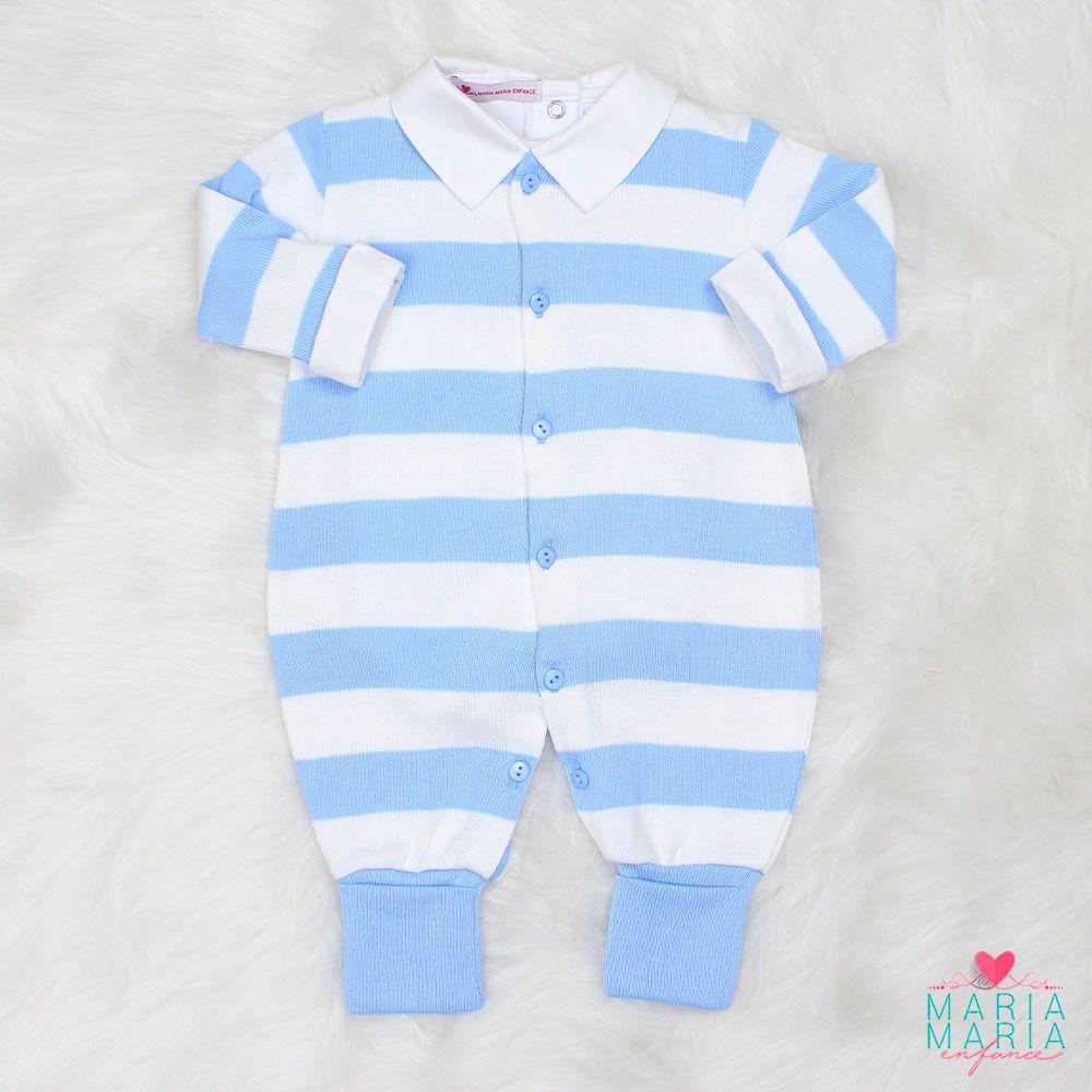 Saída de Maternidade Listrado Azul e Branco
