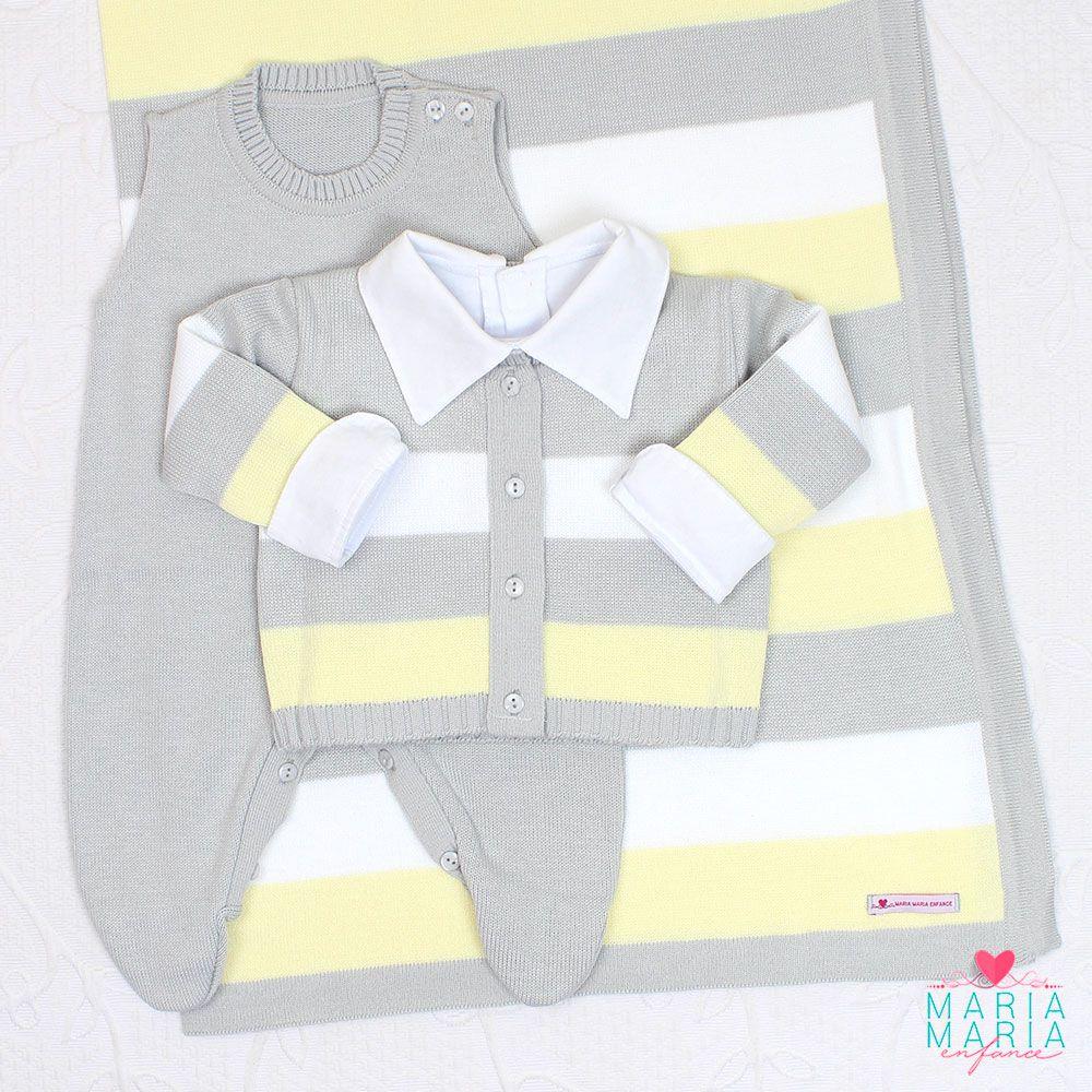 Saída de Maternidade Listrado Cinza e Amarelo