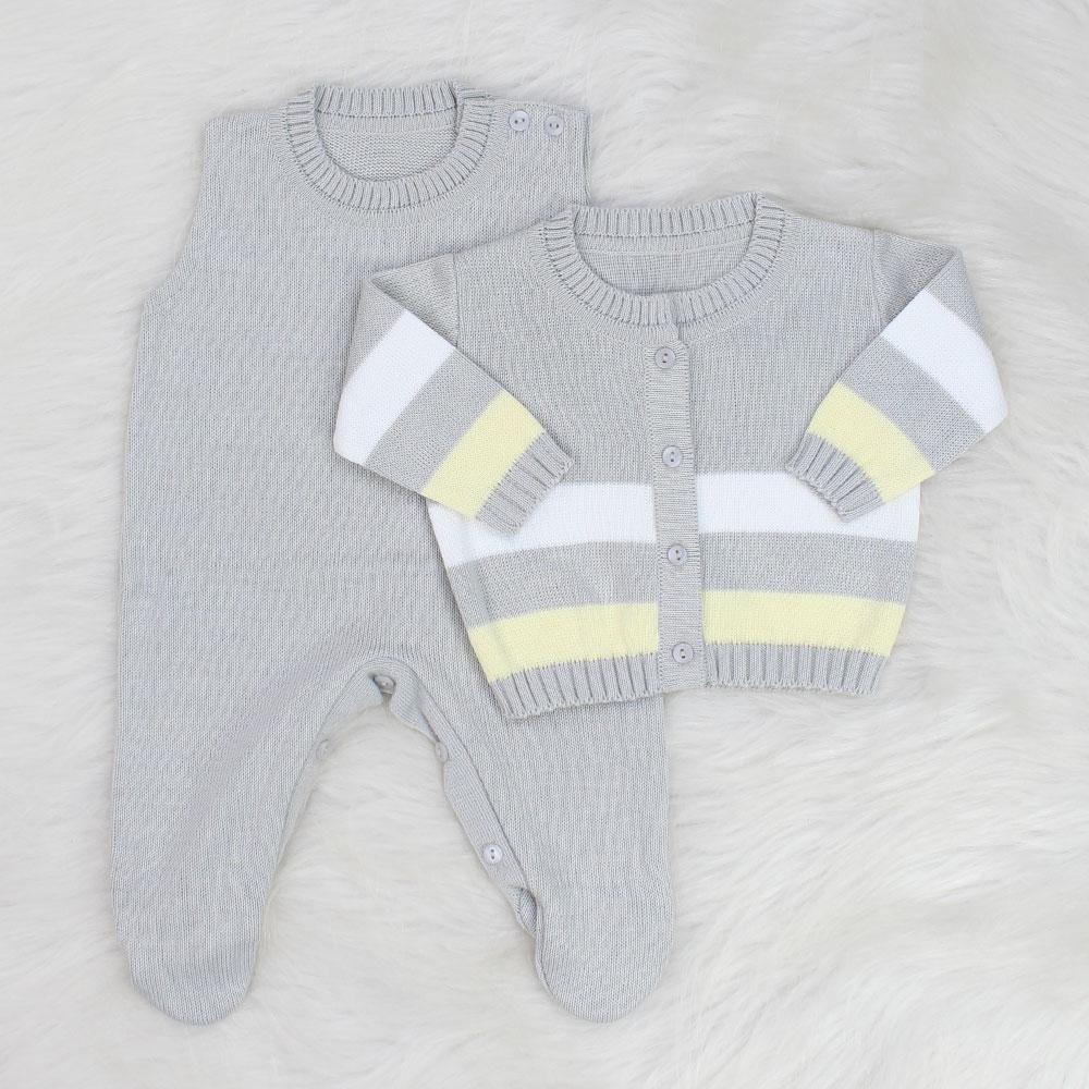 Saída de Maternidade Tricô Listrado Cinza e Amarelo