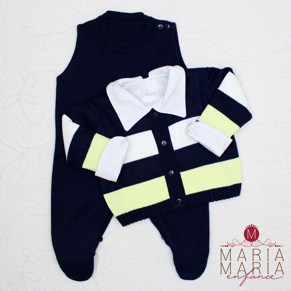 Saída de Maternidade Listrado Marinho e Amarelo