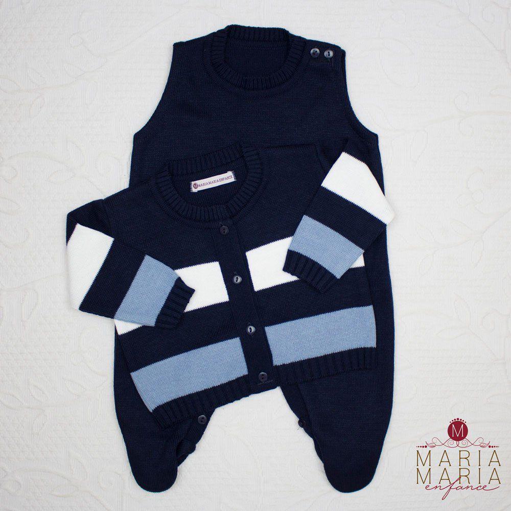 Saída de Maternidade Listrado Marinho e Azul