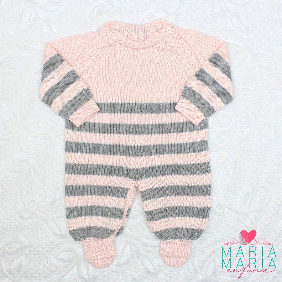 Saída de Maternidade Macacão Listras Rosa e Cinza