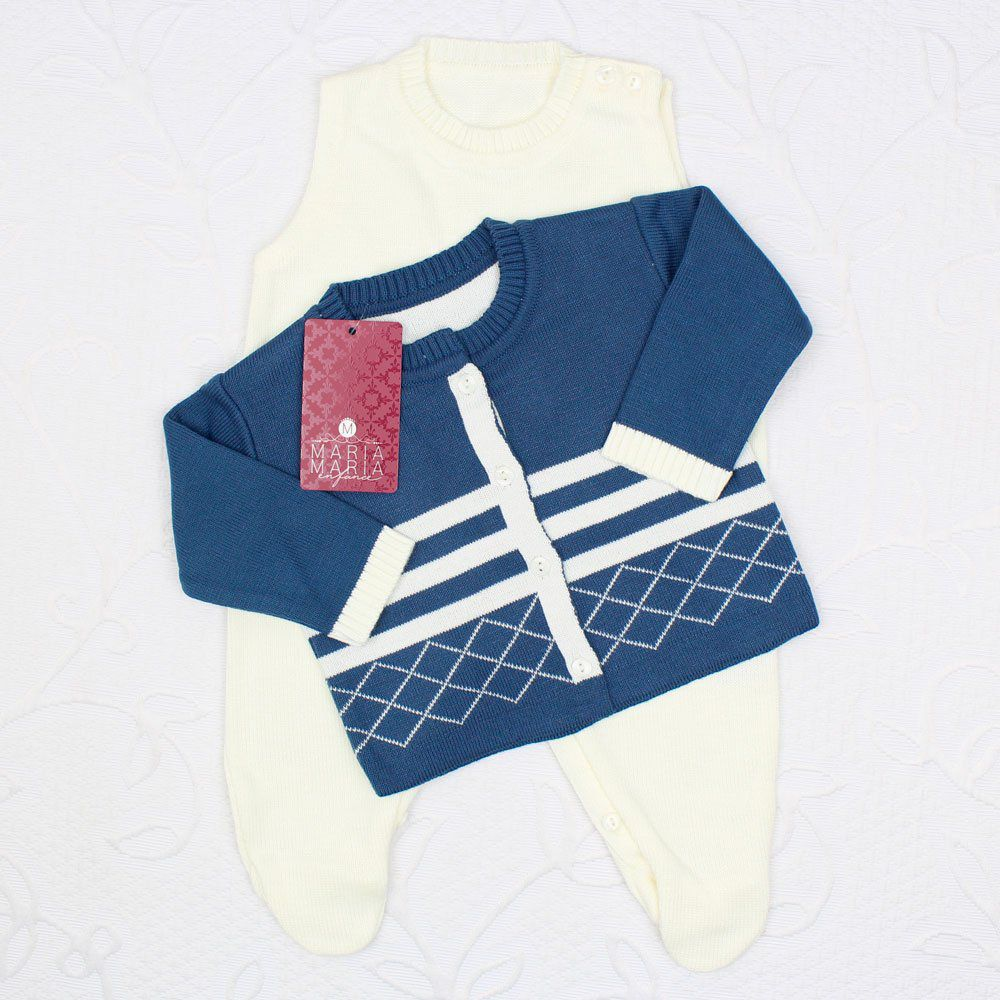 Saída de Maternidade Losango Azul Jeans e Off White