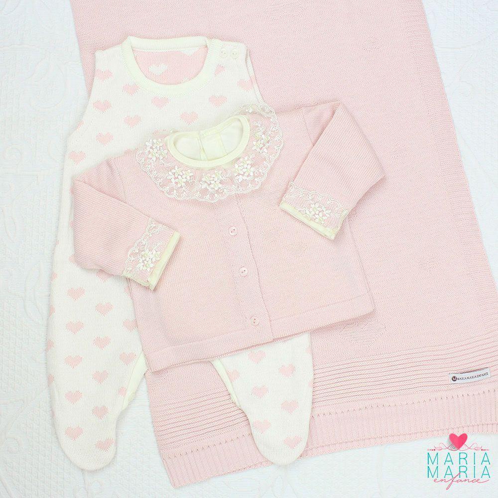 Saída de Maternidade Love Rosa e Off White
