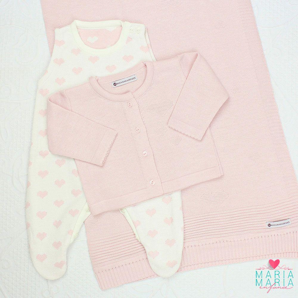Saída de Maternidade Love Rosa e Off White P