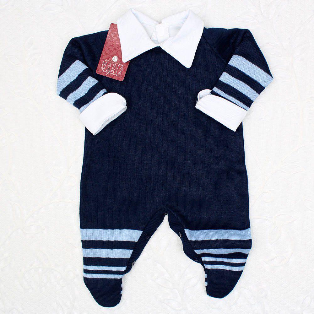 Saída de Maternidade Macacão Listras Marinho e Azul
