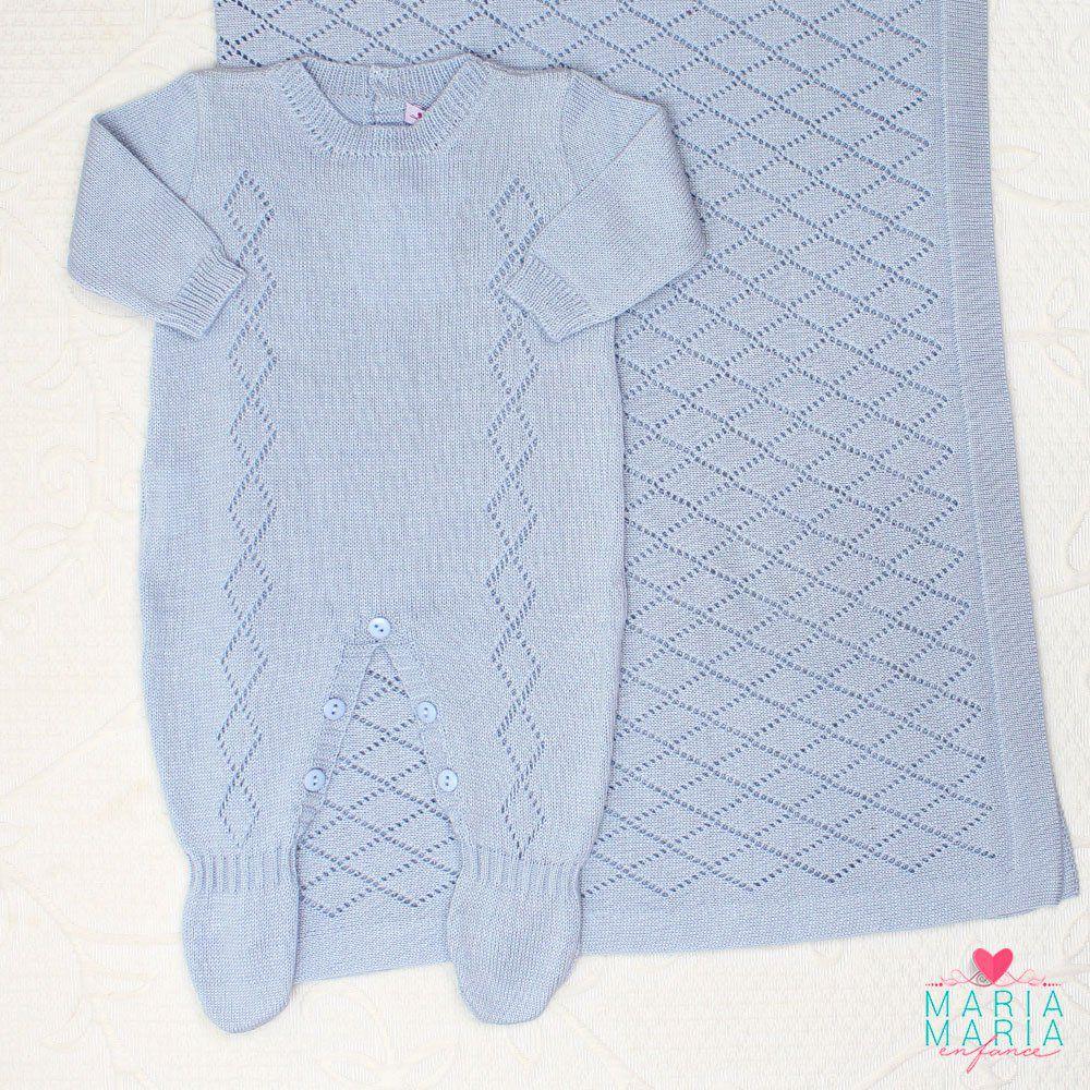 Saída De Maternidade Macacão Losango Azul - Maria Maria Enfance ... d0708a693b4