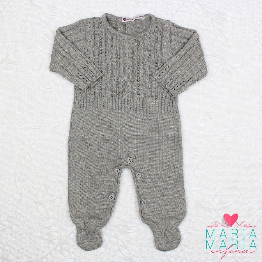 Saída de Maternidade Macacão Trança Cinza