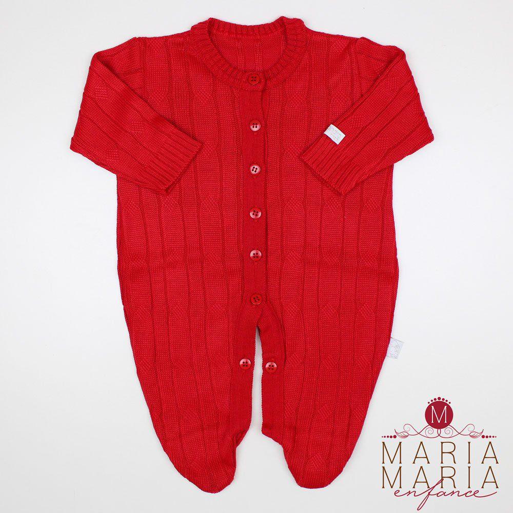 Saída de Maternidade Macacão Trança Vermelho