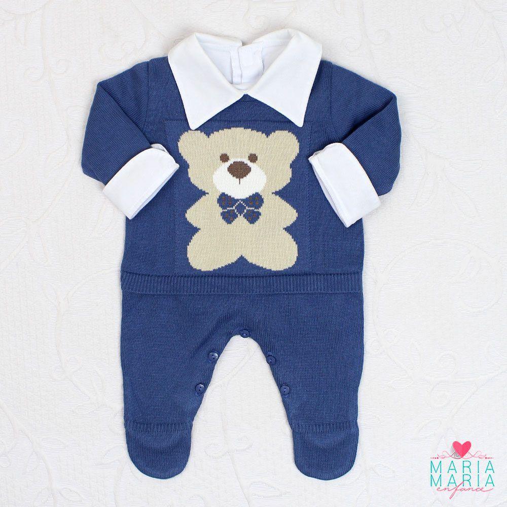 Saída de Maternidade Macacão Ursinho Azul Jeans