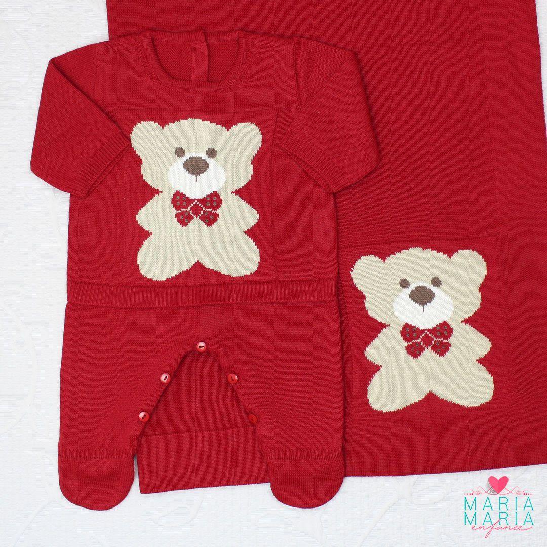 Saída de Maternidade Macacão Ursinho Vermelho