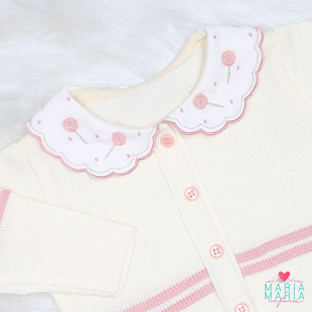 Saída de Maternidade Pirulito Rosê e Creme
