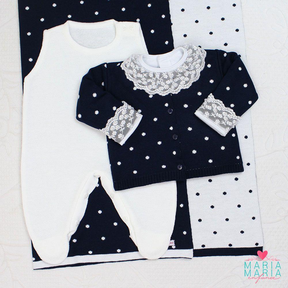 Saída de Maternidade Poá Marinho e Branco