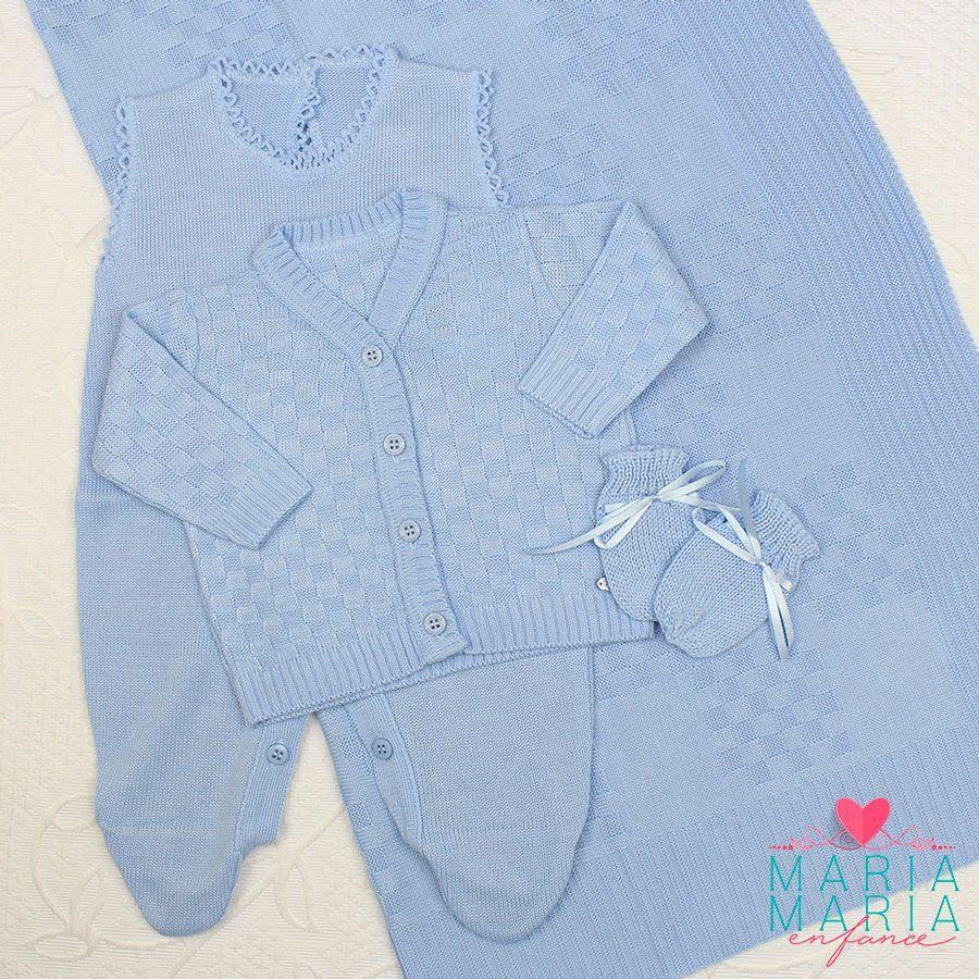 Saída de Maternidade Quadradinho Azul