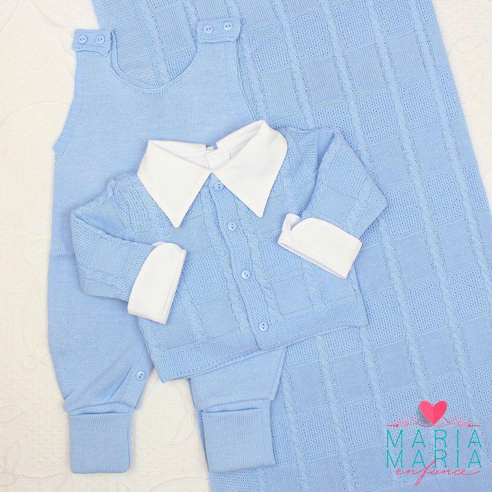 Saída de Maternidade Quadriculado Trança Azul