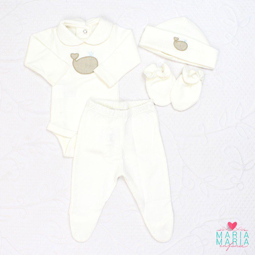 Saída de Maternidade Suedine Baleia Off White