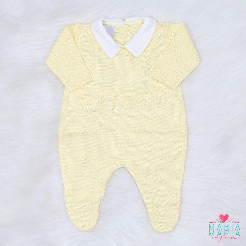 Saída de Maternidade Trenzinho Relevo Amarelo